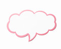 Speech bubble as a cloud with pink border isolated on white background. Copy space Royalty Free Stock Photo