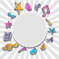 Speech bubble with colorful music notes vector illustration of Royalty Free Stock Photo