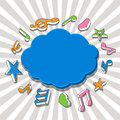 Speech bubble with colorful music notes vector illustration of a blue Royalty Free Stock Photo