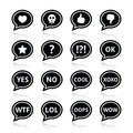 Speech bubble emotion icons love like anger wtf lol ok vector set of bubbles isolated on white Stock Photography