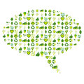 Speech bubble filled with bio eco environmental related icons an made of and symbols in four shades of green Royalty Free Stock Photography