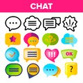 Speech Bubble Icon Set Vector. Chat Dialog Conversation Speech Bubbles Icons. App Pictogram. Social Message UI Shape