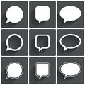 Speech bubble icons think cloud symbols illustration Stock Photos