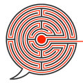 Speech bubble labyrinth puzzle difficult communication with the solution and route through the maze to the centre marked in red Stock Photos