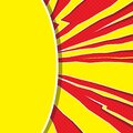 Speech bubble like yellow sun on red background. Pop art. Super heroic speed lines with explosion effect