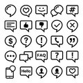 Speech bubble line icons set- comment, web, blog, contact design