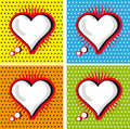 Speech Bubble Love Heart in Pop-Art Style cards set Royalty Free Stock Image