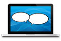 Speech bubble networking social media concept laptop with two bubbles over a blue background isolated on white and reflection at Royalty Free Stock Image