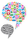 Speech bubble with people icons vector communication icon faces graphic design element Stock Images