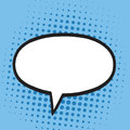 Speech Bubble in Pop Art Comics Style. Blue Colors Retro Illustration Background Royalty Free Stock Photo