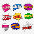 Speech bubble in pop art style. Set of comic text signs in bright colors. Sound effects icons. Vector illustration