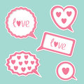 Speech bubble set with hearts and word love card vector illustration Royalty Free Stock Photo