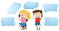 Speech bubble template with kids talking on phone