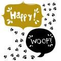 Paw print vector icon. Dog or cat pawprint illustration. Animal