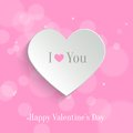 Speech bubble valentine s day backround white paper heart with shadow on pink bokeh background background Stock Photos