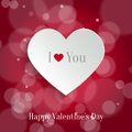 Speech bubble valentine s day backround white paper heart with shadow on red bokeh background background Royalty Free Stock Photography