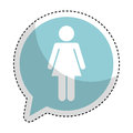 Speech bubble with woman avatar figure silhouette icon Royalty Free Stock Photo