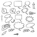 Speech bubbles and arrows hand drawn set Royalty Free Stock Photo