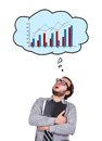 Speech bubbles with chart accountant and over head Stock Image
