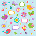 Speech bubbles with cute birds Royalty Free Stock Photo