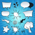 Speech bubbles explosion and splashes set illustration of a of cartoon pop comic spray design elements Royalty Free Stock Photo