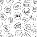 Speech bubbles with internet chat words hand drawn vector seamless pattern