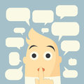 Speech bubbles and man bule background Royalty Free Stock Photo
