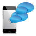Speech bubbles and mobile phone illustration Royalty Free Stock Images