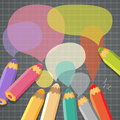 Speech bubbles with pencils vector illustration place for text Stock Images