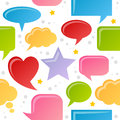 Speech bubbles seamless pattern a with colorful icons on white background eps file available Stock Photos