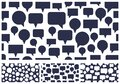Speech bubbles seamless vector background set, endless pattern with dialog signs, talk and discussion theme, social media