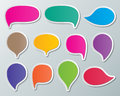 Speech bubbles set of blank colorful paper Stock Photo
