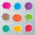 Speech bubbles set of blank colorful paper starburst Stock Photography