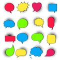 16 Speech bubbles on halftone flat style design another shapes hand drawn comic cartoon style set vector illustration isolated on