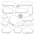 Speech bubbles. Set of hand drawn doodle style