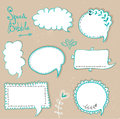 Speech bubbles set.Retro speech bubbles on the grungy background. Vector Illustration. Royalty Free Stock Photo