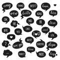 Speech bubbles set. Yes, Bye, Hi, Like, Love, Kiss, Best, No, Thnks, Hmm, Cool, Cheers, Ok, Dope, Omg.
