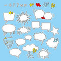 Speech bubbles, shapes and icons Stock Photo
