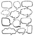 Speech bubbles vector hand drawn on white Stock Photography