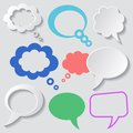 Speech bubbles white and colorful vector with shadows Royalty Free Stock Photography