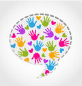 Speech hands and hearts vector illustration Royalty Free Stock Photography