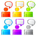 Speech icons color figures of people with talk bubbles over their heads Royalty Free Stock Photos