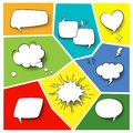 Speech popart elements. Comic cartoon shapes for dialogs thinking and talking on varicoloured backgrounds set