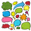 Speech or thought bubbles of different shapes and sizes. Hand drawn cartoon doodle vector illustration