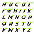 Speed alphabet black and green letters creative