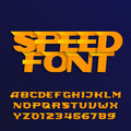 Speed alphabet font. Effect italic type letters and numbers on a dark background.