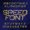 Speed alphabet font. Oblique dynamic letters and numbers on a polygonal background. Royalty Free Stock Photo