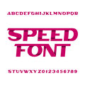 Speed alphabet font. Oblique type letters and numbers