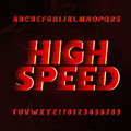 Speed alphabet vector font. Wind effect type letters and numbers on a abstract background.
