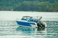 Speed boat on blue water a Royalty Free Stock Images